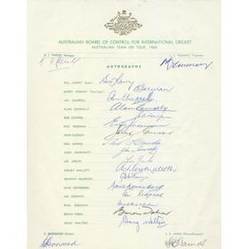 AUSTRALIA 1968 CRICKET AUTOGRAPH SHEET