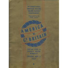 AMERICA V GREAT BRITAIN 1936 AMATEUR BOXING PROGRAMME
