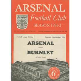 ARSENAL V BURNLEY 1951-52 FOOTBALL PROGRAMME