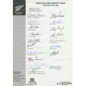 NEW ZEALAND 1990 (TOUR TO PAKISTAN) CRICKET AUTOGRAPHS