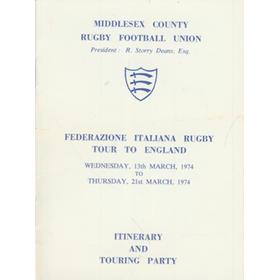 ITALY RUGBY TOUR TO ENGLAND 1974 ITINERARY AND TOUR PARTY