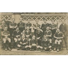 WESTMINSTER COLLEGE 1920S RUGBY TEAM POSTCARD