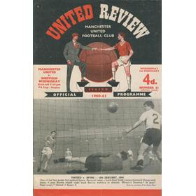 MANCHESTER UNITED V SHEFFIELD WEDNESDAY 1960-61 FOOTBALL PROGRAMME (WEDNESDAY WIN 7-2)