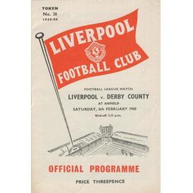 LIVERPOOL V DERBY COUNTY 1959-60 FOOTBALL PROGRAMME