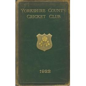 YORKSHIRE COUNTY CRICKET CLUB 1922 [ANNUAL] - MEMBER