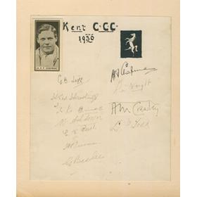 KENT 1930  CRICKET AUTOGRAPHS