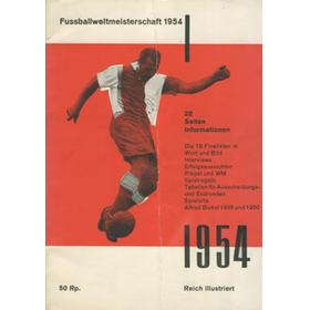 WORLD CUP 1954 TOURNAMENT PROGRAMME