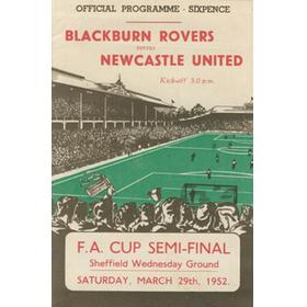 BLACKBURN ROVERS V NEWCASTLE UNITED 1952 (FA CUP SEMI-FINAL) FOOTBALL PROGRAMME