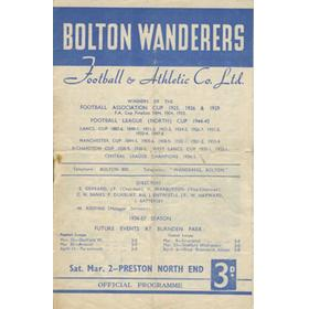 BOLTON WANDERERS V PRESTON NORTH END 1956-57 FOOTBALL PROGRAMME