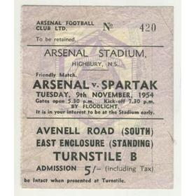 ARSENAL V SPARTAK MOSCOW 1954 FOOTBALL TICKET