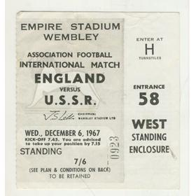 ENGLAND V U.S.S.R. 1967 FOOTBALL TICKET