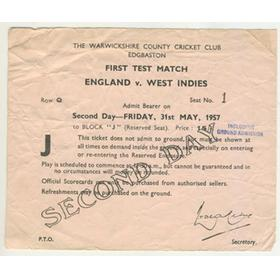 ENGLAND V WEST INDIES 1957 (EDGBASTON) CRICKET MATCH TICKET