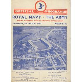 ROYAL NAVY  V THE ARMY 1950 RUGBY PROGRAMME