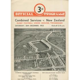 COMBINED SERVICES V NEW ZEALAND 1953 (TWICKENHAM) RUGBY PROGRAMME