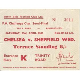 CHELSEA V SHEFFIELD WEDNESDAY 1966 (FA CUP SEMI-FINAL) FOOTBALL TICKET