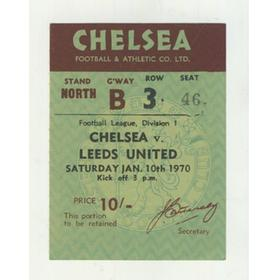 CHELSEA V LEEDS UNITED 1969-70 FOOTBALL TICKET