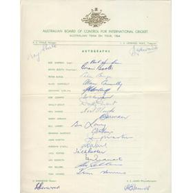 AUSTRALIA 1964 CRICKET AUTOGRAPH SHEET
