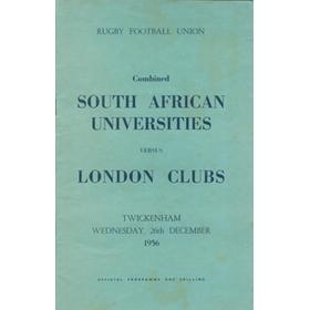 COMBINED SOUTH AFRICAN UNIVERSITIES V LONDON CLUBS 1956 (TWICKENHAM) RUGBY PROGRAMME