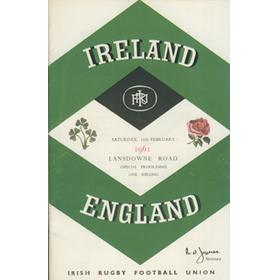 IRELAND V ENGLAND 1961 RUGBY PROGRAMME