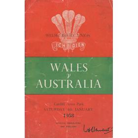 WALES V AUSTRALIA 1958 RUGBY PROGRAMME