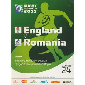 ENGLAND V ROMANIA 2011 RUGBY WORLD CUP PROGRAMME
