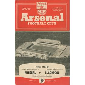 ARSENAL V BLACKPOOL 1958-59 FOOTBALL PROGRAMME