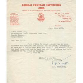 NORTHAMPTON TOWN  BEAT ARSENAL IN 1957-58 FA CUP - LETTER OF CONGRATULATION TO COBBLERS