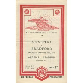 ARSENAL V BRADFORD 1947-48 FOOTBALL PROGRAMME (CHAMPIONSHIP SEASON)