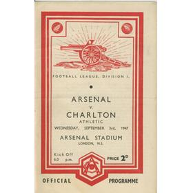 ARSENAL V CHARLTON ATHLETIC 1947-48 FOOTBALL PROGRAMME (CHAMPIONSHIP SEASON)