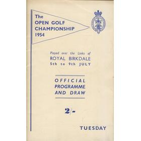 OPEN CHAMPIONSHIP 1954 (ROYAL BIRKDALE) GOLF PROGRAMME