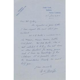 B.W. QUAIFE (WARWICKSHIRE & WORCESTERSHIRE) 1955 CRICKET LETTER