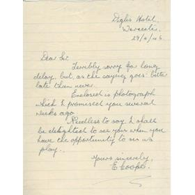 EDWIN COOPER (WORCESTERSHIRE) 1955 CRICKET LETTER