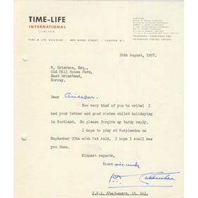 J.W.A. STEPHENSON (ESSEX & WORCESTERSHIRE) 1957 CRICKET LETTER