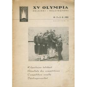 1952 HELSINKI OLYMPIC GAMES (ORGANISING COMMITTEE BULLETIN) FULL COMPETITION RESULTS