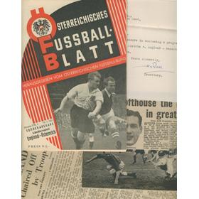 "AUSTRIA V ENGLAND 1952 (""LION OF VIENNA"") FOOTBALL PROGRAMME - WITH CUTTINGS AND LETTER FROM STANLEY ROUS"