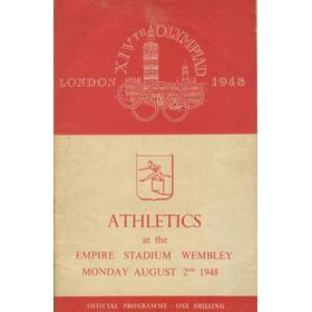 LONDON OLYMPICS 1948 - 2ND AUGUST ATHLETICS PROGRAMME (SIGNED BY ZATOPEK, REIFF, PATTON ETC.)