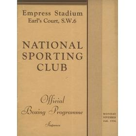 NATIONAL SPORTING CLUB 1936 BOXING PROGRAMME (EMPRESS STADIUM, EARL