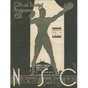NATIONAL SPORTING CLUB 1937 BOXING PROGRAMME (EMPRESS STADIUM, EARL