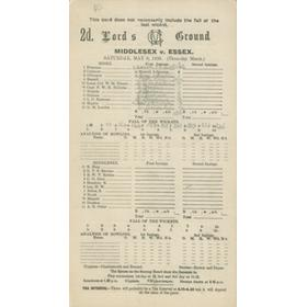 MIDDLESEX V ESSEX 1926 CRICKET SCORECARD