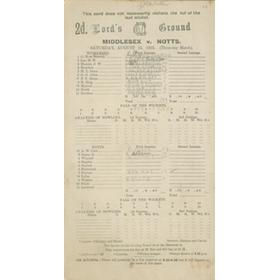 MIDDLESEX V NOTTINGHAMSHIRE 1925 CRICKET SCORECARD