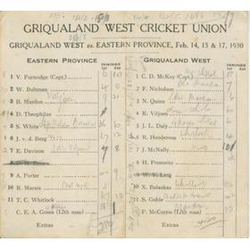 GRIQUALAND WEST V EASTERN PROVINCE 1930 CRICKET SCORECARD - BALASKAS 11 WICKETS AND A CENTURY