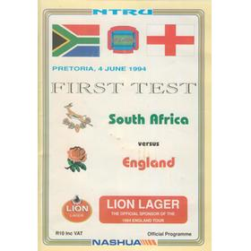 SOUTH AFRICA V ENGLAND 1994 (FIRST TEST) RUGBY PROGRAMME