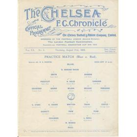 CHELSEA PRACTICE MATCH 1924 (BLUE V RED) FOOTBALL PROGRAMME