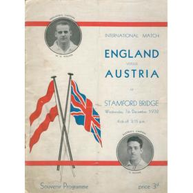 "ENGLAND V AUSTRIA 1932 (STAMFORD BRIDGE) FOOTBALL PROGRAMME - ENGLAND DEFEAT ""WUNDERTEAM"" 4-3"