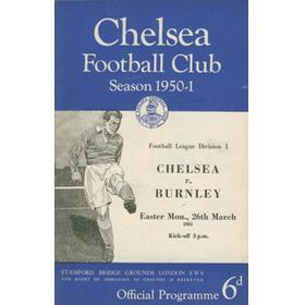 CHELSEA V BURNLEY 1950-51 FOOTBALL PROGRAMME