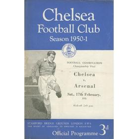 CHELSEA V ARSENAL (FOOTBALL COMBINATION CHAMPIONSHIP FINAL) 1950-51 FOOTBALL PROGRAMME