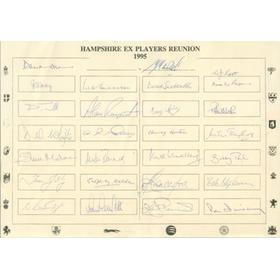 HAMPSHIRE COUNTY CRICKET CLUB EX-PLAYERS REUNION 1995 AUTOGRAPH SHEETS - SIGNED BY 51