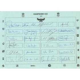 HAMPSHIRE COUNTY CRICKET CLUB 2000 AUTOGRAPH SHEET