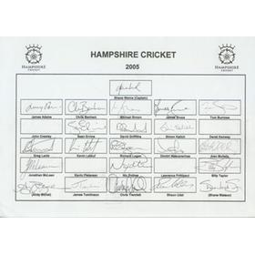 HAMPSHIRE COUNTY CRICKET CLUB 2005 AUTOGRAPH SHEET