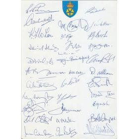 DERBYSHIRE COUNTY CRICKET CLUB POST-WAR AUTOGRAPH SHEET (35+ PLAYERS)